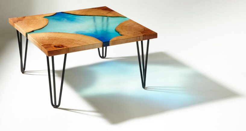 epoxy resin rustic wood table