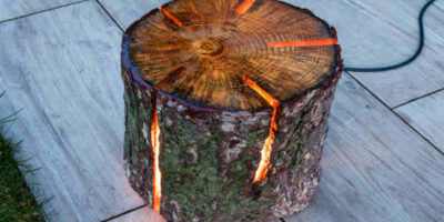 tree log lamp with resin