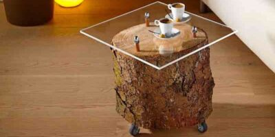 make a tree trunk side table