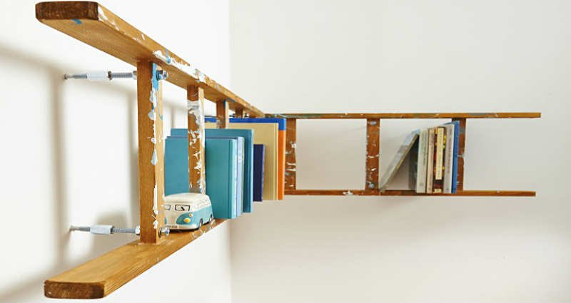 upcycle a ladder into a shelf