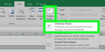 how to freeze columns in Excel